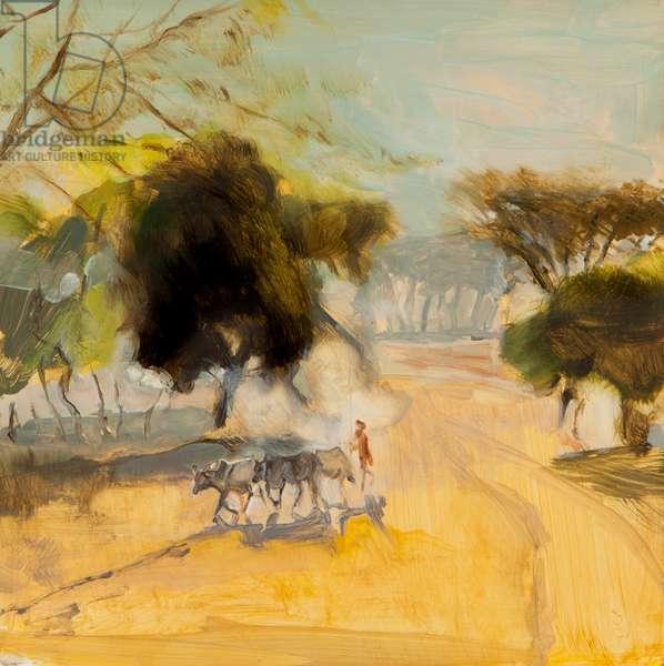 Rendille herdsman, on road to Lake Turkana, 2015 (oil on board)