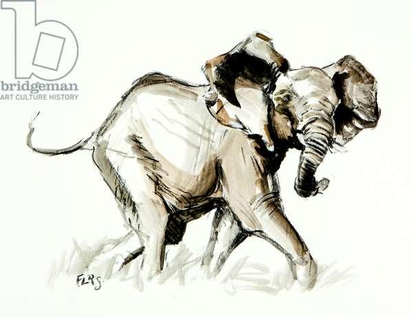 elephant trot, 2013, (mixed media on paper)