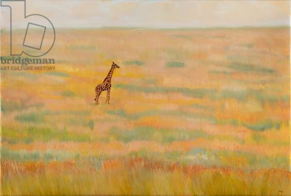 Giraffe in savannah, oil on canvas, 2019