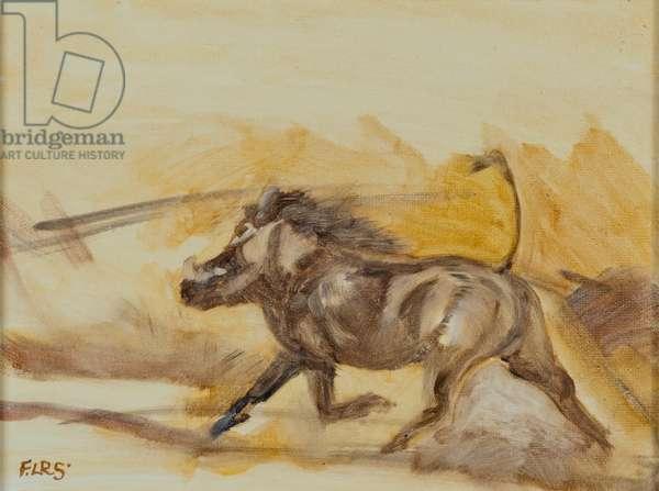 Warthog running, 2014 (oil on canvas)