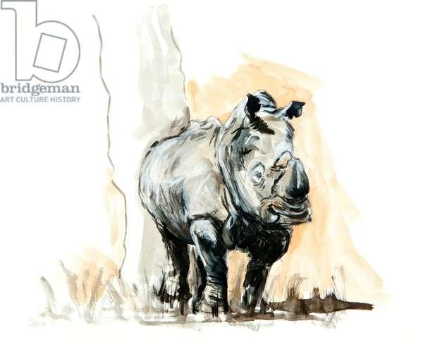 Rhino against tree, 2013, mixed media