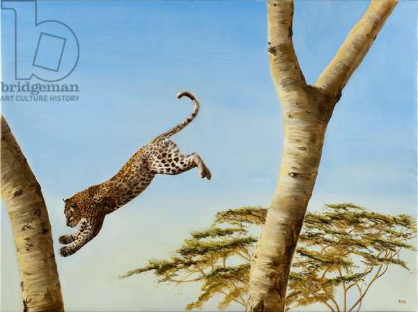 Leaping Leopard, oil on canvas, 2019