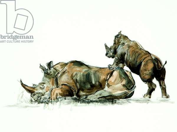 Rhino mother and calf, 2012, (mixed media)