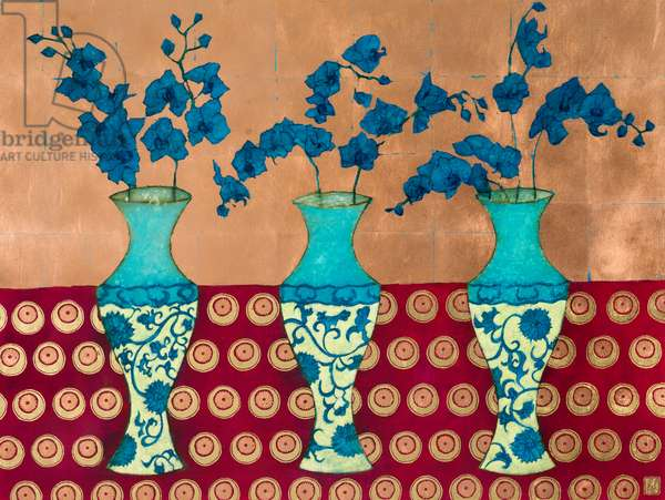 Blue Orchids, 2016, Acrylic & Copper Leaf on Board