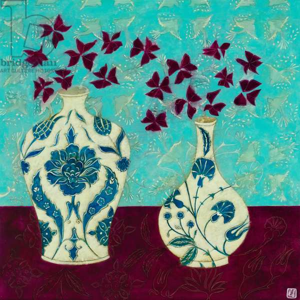 Grey Dovetails and Iznik Vases, 2016, Acrylic on Board