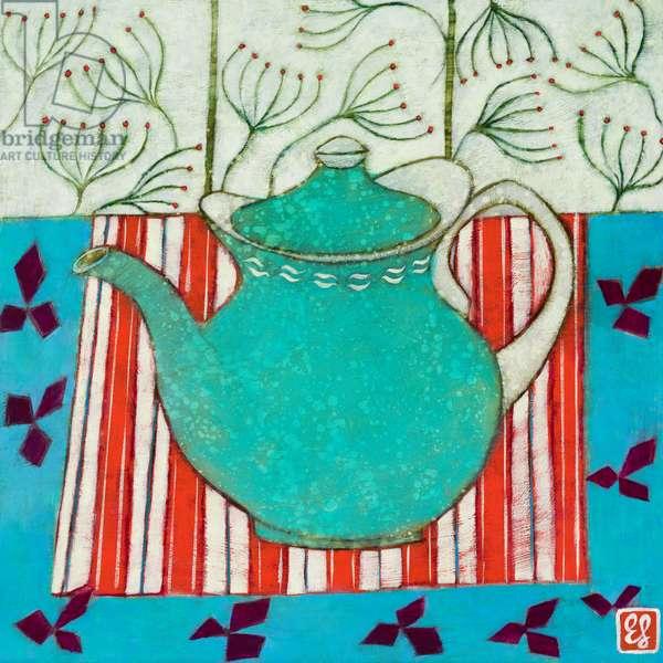 Teapot and Seedheads, 2017, Acrylic on Board