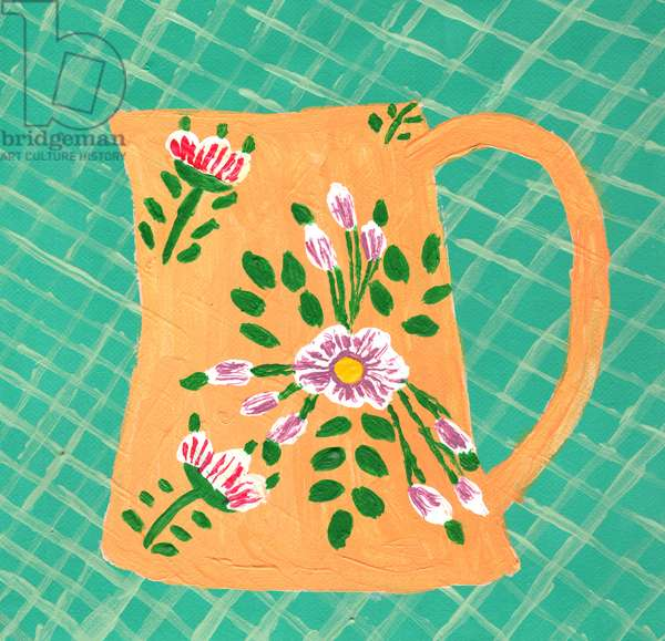 Green Check Floral Mug, 2017, (acrylic on canvas)