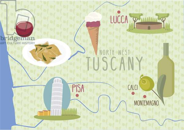 Map of Lucca and Pisa, Tuscany, Italy