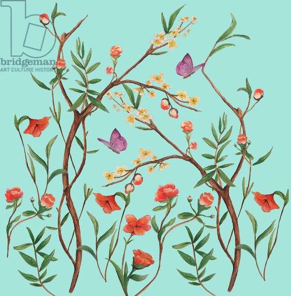 Oriental Floral, 2016, (watercolour and gouache)