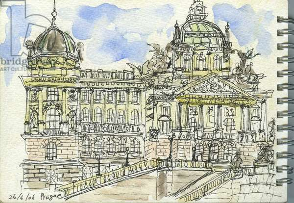 Prague Baroque (watercolour and ink on paper)