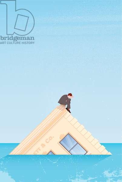 Man on sinking building