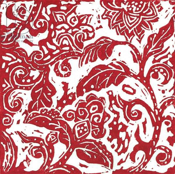 Indian Floral Linocut