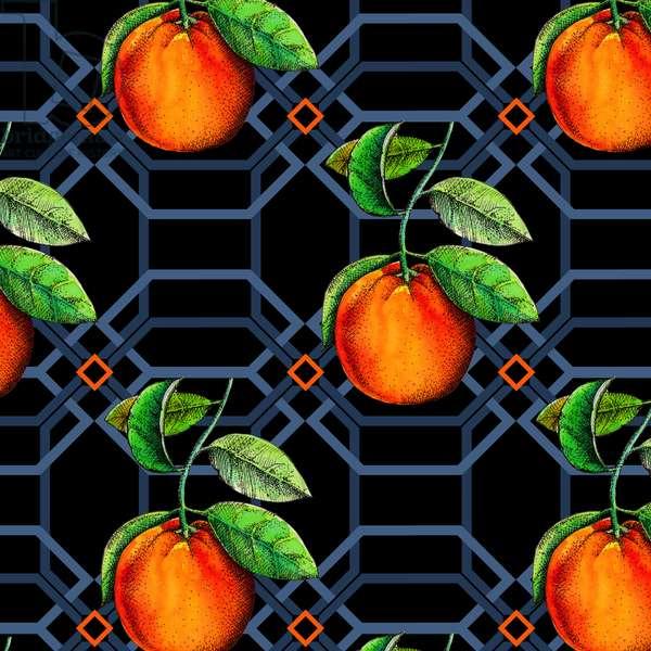 Orange geometric, 2018, pen and ink, watercolour, digital)