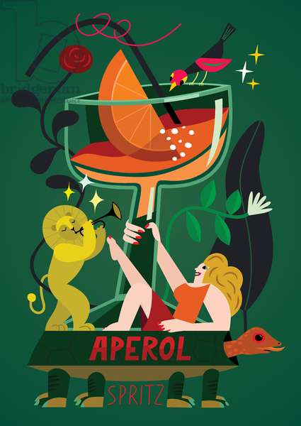 Aperol Spritz, 2017, (vector illustration)