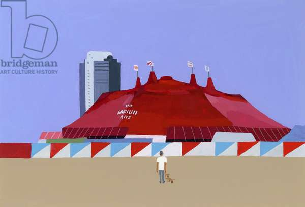 A man with a circus tent and a dog. 2014, (gouache on paper)