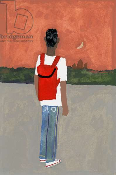 A traveler carrying a red backpack,2016,