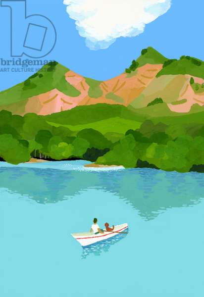 summer vacation in the mountains and boats