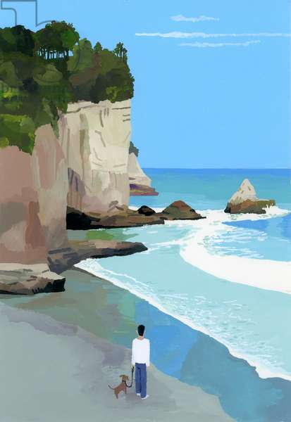 Peaceful coast with waves and cliffs