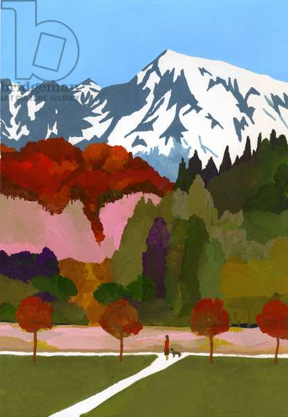 Autumn leaves and snow mountains