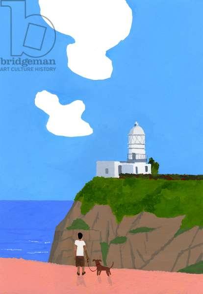 Lighthouse, dog and boys.