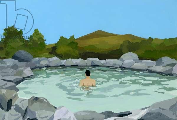 Outdoor bath, hot spring,2016,