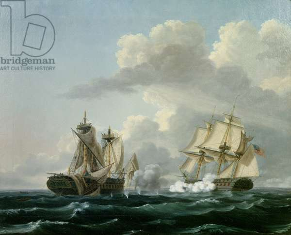The USS 'United States' and the HMS 'Macedonian' 25th October 1812  (oil on canvas)