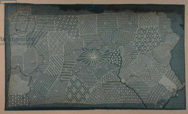 Sampler outlining the counties in the state of Pennsylvania (lace)