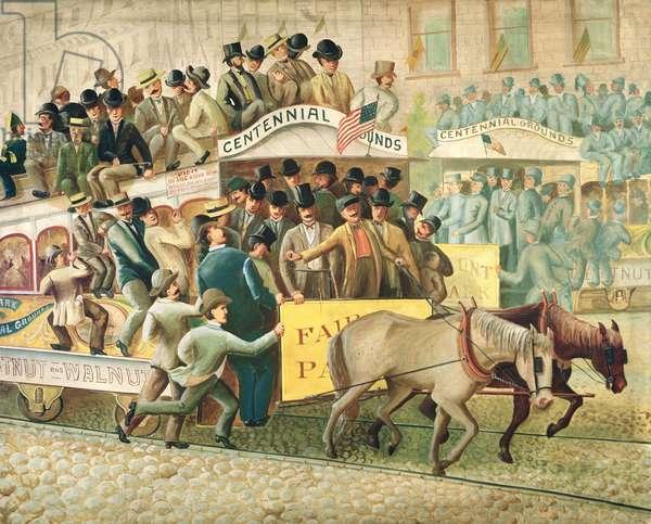 Street Car Travel During the Centennial (oil on canvas)