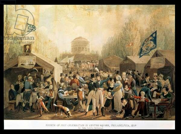 Fourth of July celebration in Center Square, Philadelphia, 1819 (w/c on paper)