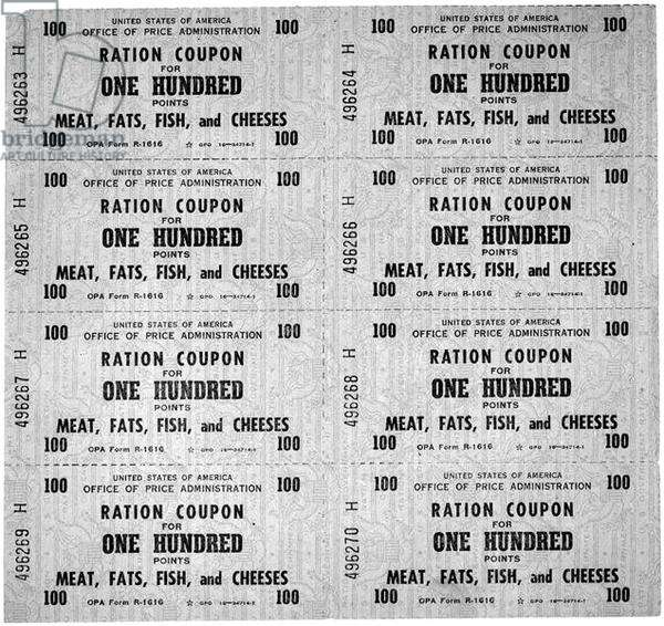 Food Ration Coupons from World War II, 1942 (litho)