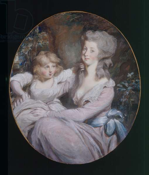 """Margaret """"Peggy"""" Arnold and daughter Sophia, c.1787 (oil on canvas)"""
