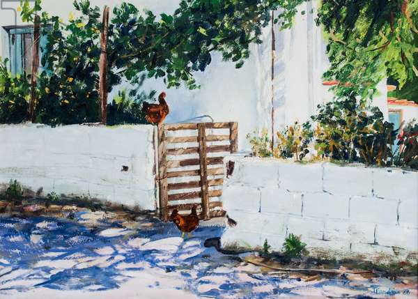 Gate with Chickens in Skiathos, Greece