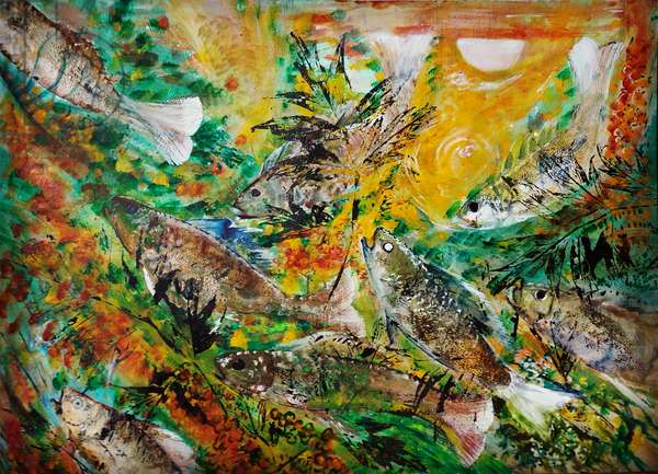 fish, moonlight, 2020, mixed media