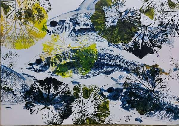 gyotaku, fish, oil on card, 2020