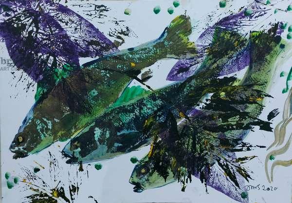 gyotaku 2020 oil on card