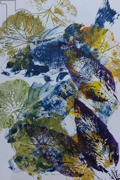 gyotaku fish painting, oils, 2020
