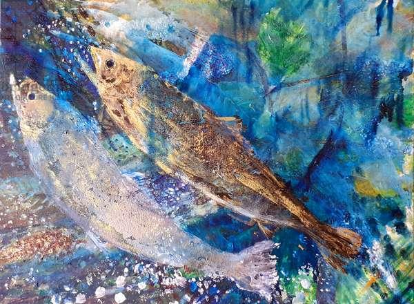 salmon spawn, 2019, oils on canvas