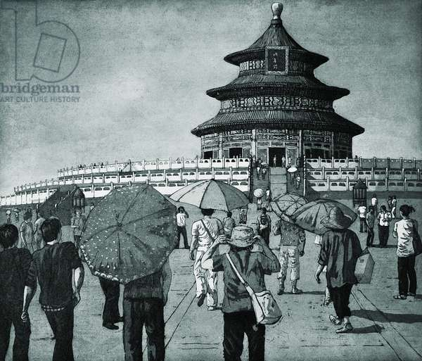 At the Temple of Heaven, Beijing, 2012, (etching/aquatint)