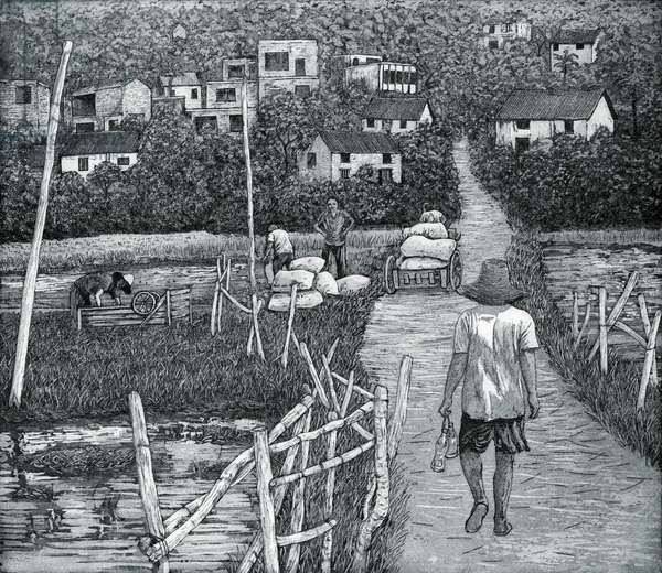 Back from the Fields, China, 2012, (etching/aquatint)