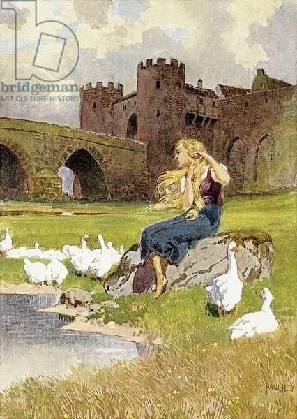 The Goose Girl (colour litho)