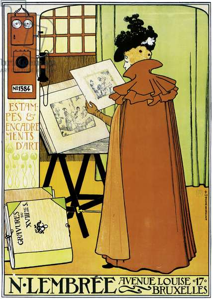 Poster advertising 'N. Lembree' art shop, Brussels, 1898 (colour litho)