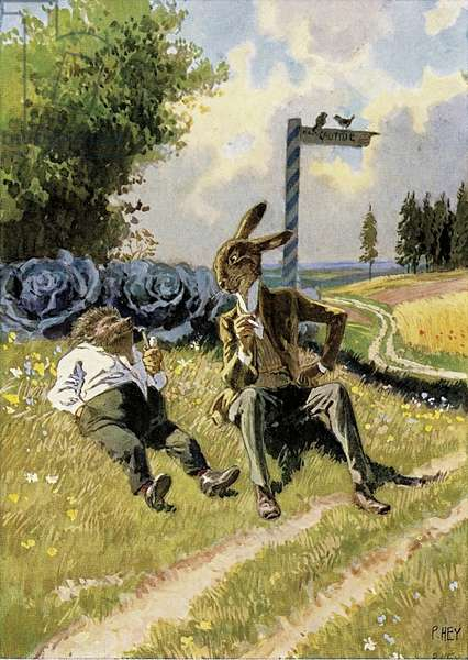 The Hare and the Hedgehog (colour litho)