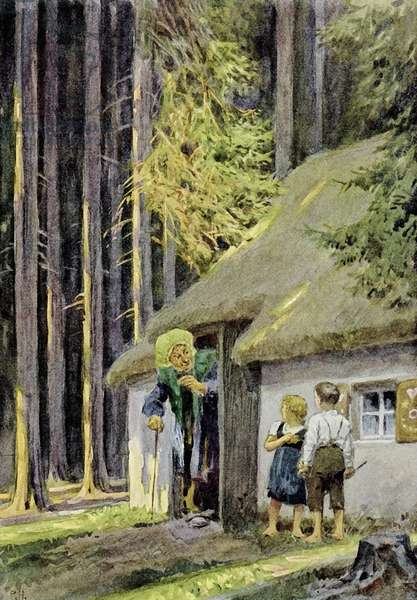 Hansel and Gretel (colour litho)