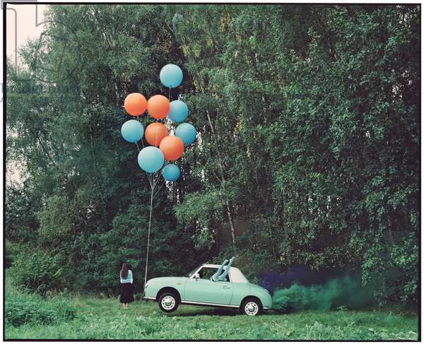 The Twins and the Green Car - 5, 2015, (photography)