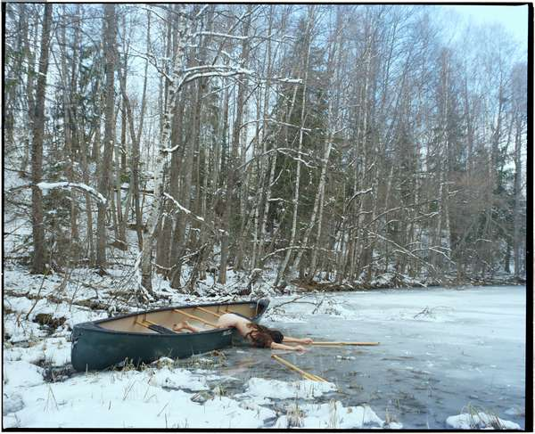 Body in Boat on Frozen Lake, 2017, (photography)