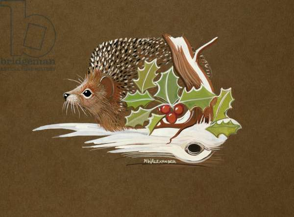 Hedgehog in the Snow with Holly (gouache on paper)