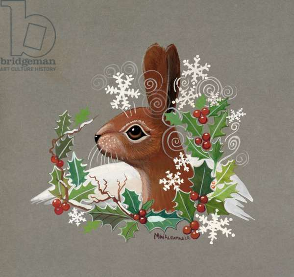 Rabbit in the Snow with Holly (gouache on paper)