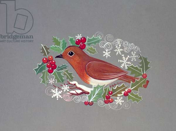 Robin with Snowflakes and Holly (gouache on paper)