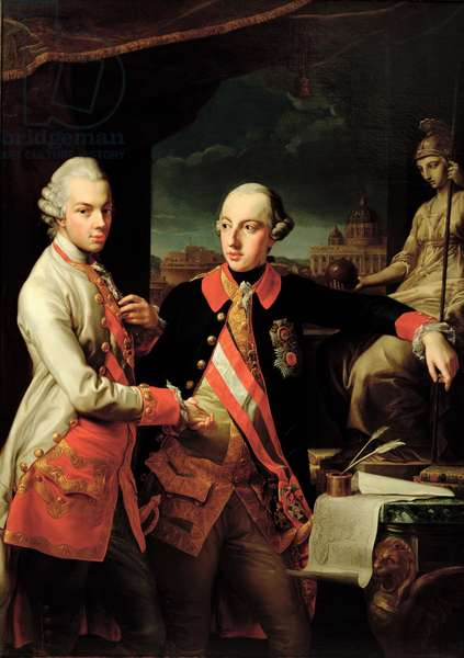 Joseph II (1741-90) of Austria and Leopold II (1747-92) of Tuscany (oil on canvas)