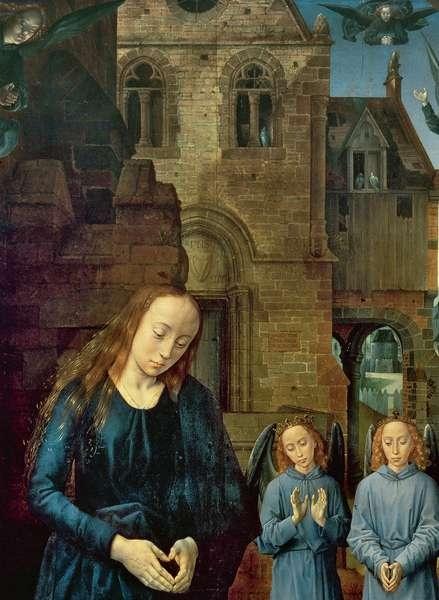 Christ Child Adored by Angels, Central panel of the Portinari Altarpiece, c.1479 (oil on panel) (detail of 9619)